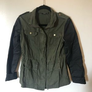 Army green and leather jacket size s